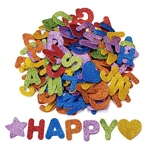 Oumezon 168 Stück Moosgummi Buchstaben Glitter Schaumstoff Aufkleber Buchstaben Sticker Selbstklebend Buchstaben Aufkleber Klebebuchstaben Glitter Alphabet Sticker für Kinder DIY Handwerk