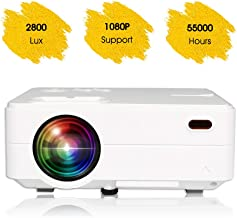 """$58 » Mini Projector Portable, Home Theater Projector, Outdoor Projector 1080P, 55,000 Hrs 2800L 200"""" Movie Projector Compatible with Smartphones, Fire Stick, TV Box, Laptop, DVD, PS4, VGA, USB, HDMI"""