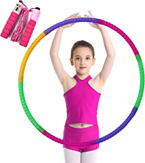 Hoola Hoops for Kids Jump Rope - Colorful Lighted Hoola Hoop - Plastic Toy Hoola Hoop with Present Kids Jump Rope Fitness Hoola Hoops Skipping Rope - Jump Rope for Kids Children Students & Adults