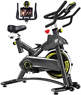 Cyclace Exercise Bike Stationary 330 Lbs Weight Capacity- Indoor Cycling Bike with Comfortable Seat Cushion, Tablet Holder and LCD Monitor for Home Workout