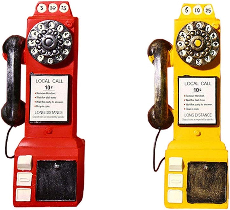 Retro Nostalgic Phone Model Decoration, Suitable for Living Room Study Window Decoration, 2pcs, Yellow 1 and red 1, 24cm8cm