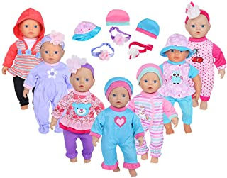 ebuddy 16pcs Doll Playtime Outfits Clothes Hat Headband for 10
