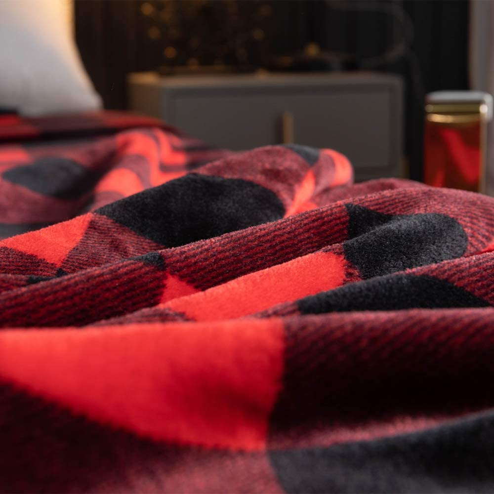 Heflashor Plaid Couverture Polaire Couvre-lit Dessus de Lit Doux Jeté de Canapé Douce Jeté de Lit pour 2 Personnes Drap de Lit Doux pour Adulte Enfant Imprimé 1
