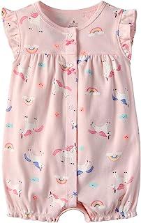 Minizone Baby Strampler Mädchen Jumpsuit Neugeborenes Sommer Pyjama Baumwolle Kurzarm-Body 3-12 Monate