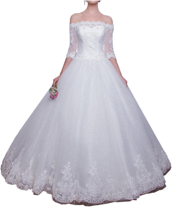 MILANO BRIDE Luxury Bateau 1 2 Sleeves Ball Gown Lace Bridal Wedding Dress