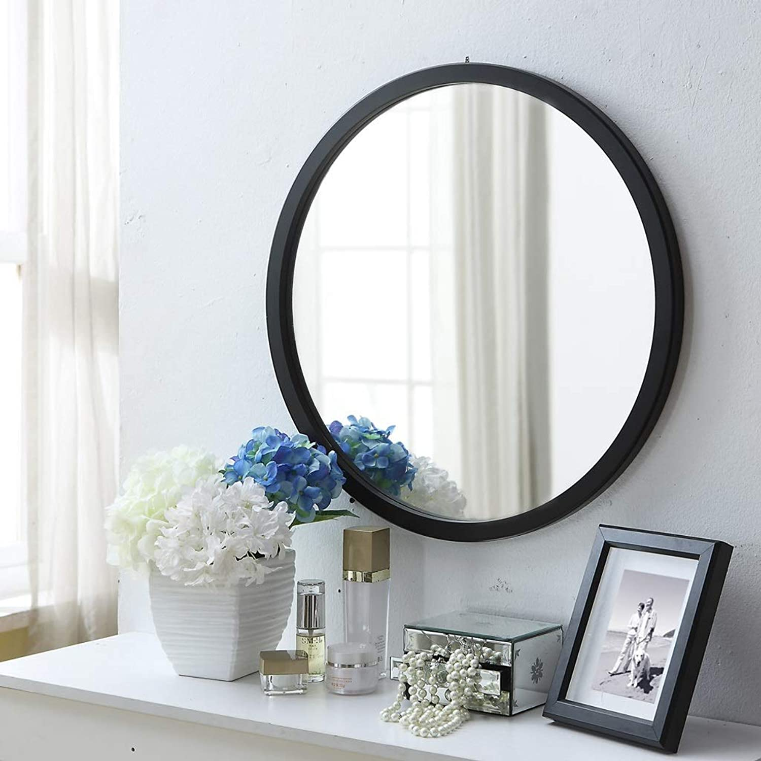 GSHWJS Mirror Wall Mirror and Wood Frame Round Wall Mirror for The Entrance Channel Bathroom Living Room and Other Modern Wall Art Doubles Wall Mirror (color   Black, Size   Diamete-60cm)
