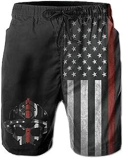 Men Fireman Skull Thin Red Line Flag Summer Breathable Quick-Drying Swim Trunks Beach Shorts Board Shorts