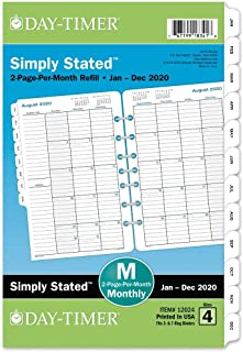 """Day-Timer 2020 Monthly Planner Refill, 5-1/2"""" x 8-1/2"""