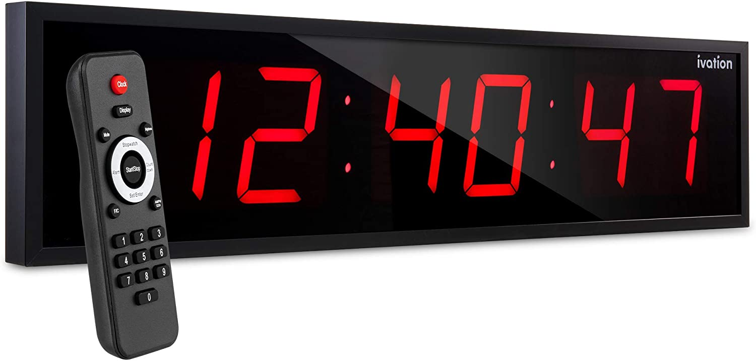 Countdown Timer /& Temp Ivation Huge 24 Inch Large Big Oversized Digital LED Clock with Stopwatch Shelf or Wall Mount Mounting Holes /& Hardware   6-Level Brightness Alarms Red