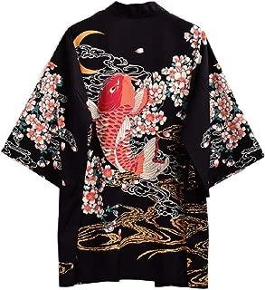 Japanese Sakura Yukata Sleeping Haori Bathrobe Vintage Red Carp Kimono with OBI