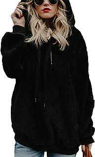 Mujer Sudadera con Capucha Suelta Tallas Grandes Invierno Manga Larga Pullover Deportivo Cremallera Chaqueta Hoodies Suéter Abrigo con Bolsillos 2019 El Nuevo