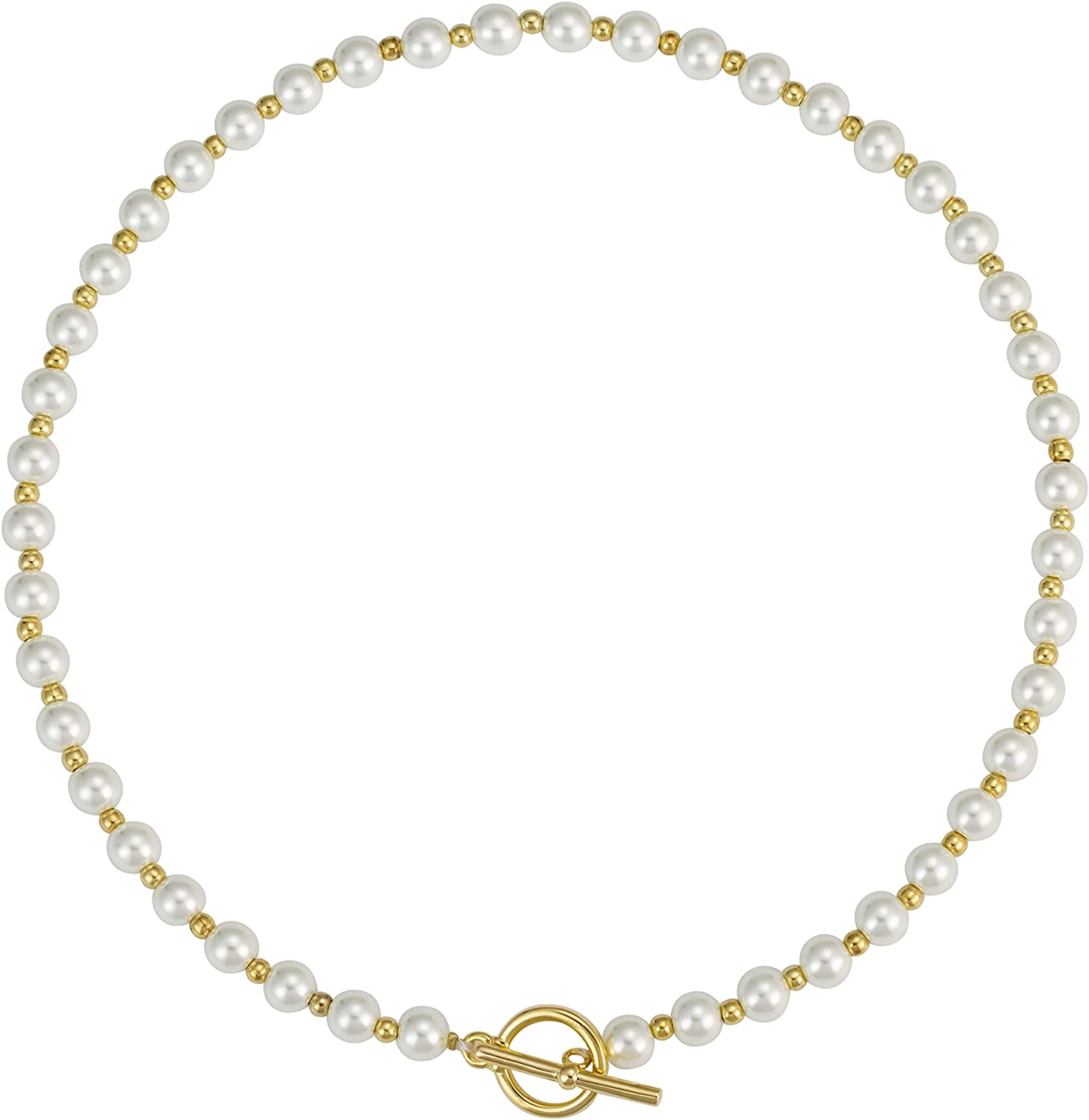 WWBGINF Pearl Beaded Choker Necklace 14K Gold Plated Bead White Simulated Pearl Necklace with Toggle Clasp Handmade Fashion Jewelry for Women Girls