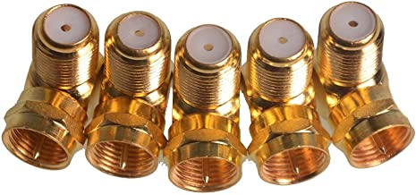5pcs F-Type 90 Degree Right Angle Male to Female Coaxial Cable TV Antenna Adapter