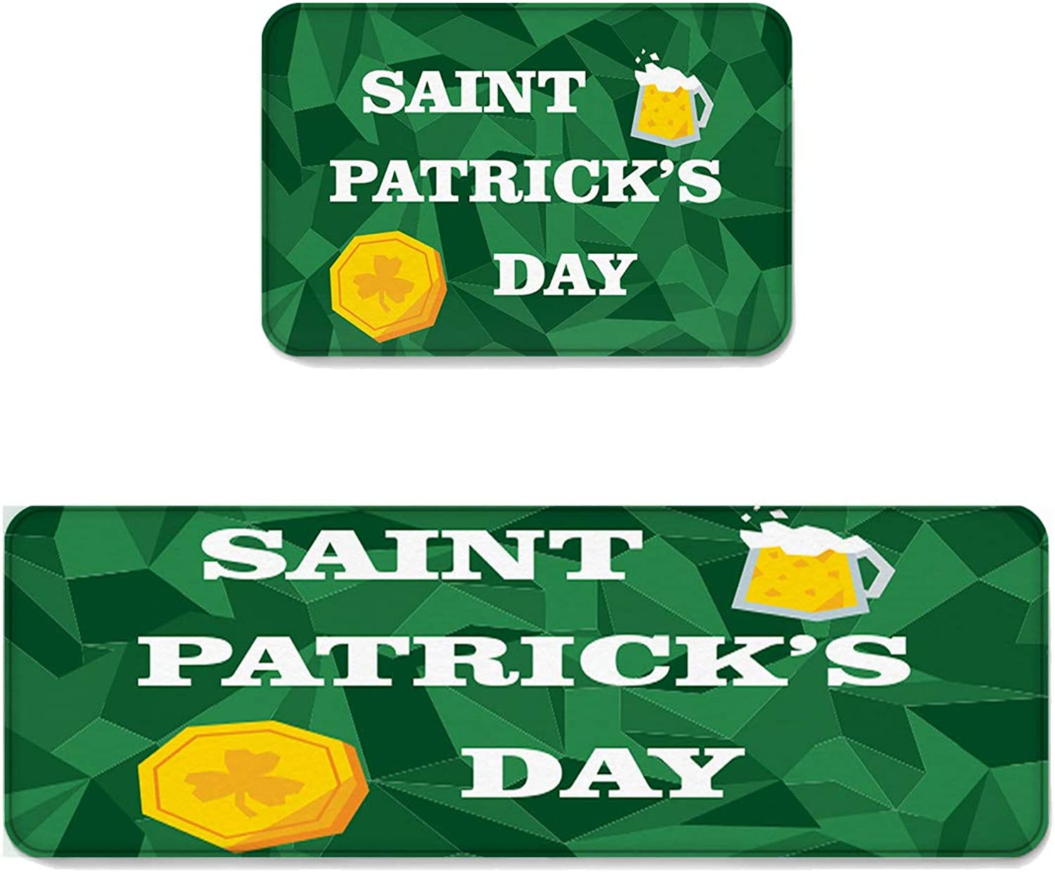 Kitchen Rug Sets 2 Piece Floor Mats Non-Slip Rubber Backing Area Rugs St Patrick's Day Beer and Geometric Pattern Doormat Washable Carpet Inside Door Mat Pad Sets (19.7  x 31.5 +19.7  x 63 )