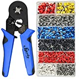 Ferrule Crimping Tool Kit, Sopoby AWG 28-7 Self-adjustable Ratchet Ferrule Crimper Plier Set with 1200PCS Wire Ferrules Crimp Connectors Wire Terminals
