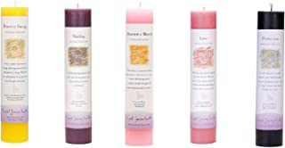 Crystal Journey Reiki Charged Herbal Magic Pillar Candle with Inspirational Labels - 5 Pack (Manifest a Miracle, Healing, Positive Energy, Love, Protection), Each 7