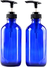 Two Blue Glass Bottle Bottles with Plastic Pump. Eco-friendly 8oz 8 oz Refillable Bottle for Cooking Sauces,Essential Oils,Lotions,Organic Beauty Products(Two Chalkboard Labels free)