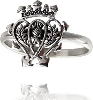 Sterling Silver Scottish Luckenbooth Ring with 2mm Band, Sizes 6, 7, 8, 9