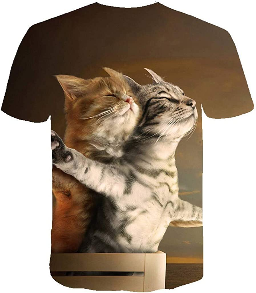 Men T Shirt Graphic Casual Dry Fit Short Sleeve 3D Cat Print Plus Size Novelty Funny Tops Tees