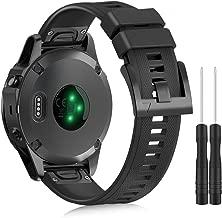 Apphome Watch Band Compatible with Garmin Fenix 5/6 Pro, 22mm Width Soft Silicone Replacement Watch Strap for Fenix 6/Fenix 5 Plus/Instinct/Forerunner 935/Forerunner 945/Approach S60/Quatix 5, Black