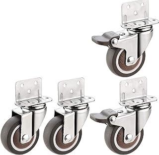4 stuks meubelwielen in L-vorm met dubbele vergrendeling, wielen met laag profiel, 360 ° draaibaar 360 ° draaibaar voor bo...