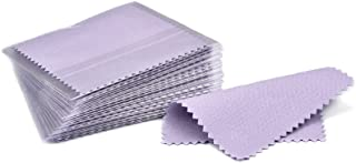 SEVENWELL 50pcs Jewelry Cleaning Cloth Purple Polishing Cloth for Sterling Silver Gold Platinum Small Polish Cloth 8x8cm
