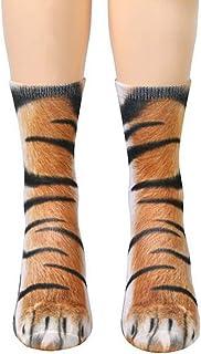 DERCLIVE, Adultos Niños 3D Animal Pata Gato Tigre Pies Impresión Pie Equipo Calcetines Medias Elásticas 13 Animales para Elegir