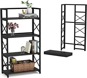 Tribesigns Folding Bookshelf Home Office Bookcase Easy Assembly Storage Shelves 4 Tiers Foldable Sackable Space-Saving Book Shelf, Flower Stand Metal Book Rack Organizer for Living Room, Black