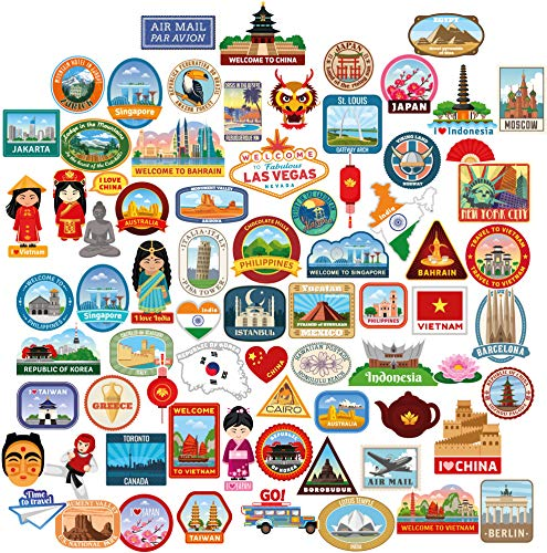 73x Luggage stickers suitcase patches vintage travel labels retro vintage graffiti iphone car stickerbomb style vinyl decals door skateboard cafe