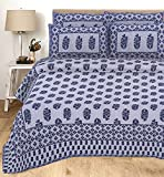 ACHZCH 144 TC 100% Pure Cotton King Size Double Bed Bedsheet with 2 Pillow Cover (Gray)
