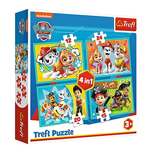 Trefl, TR34346 Puzzle, Das lustige Team von PAW Patrol, von 12 bis 24 Teilen, 4 Sets, für Kinder ab 3 Jahren