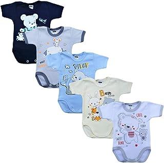 MEA BABY Unisex Baby Kurzarm-Body mit Aufdruck aus 100% Baumwolle im 5er Pack, Baby Body mit Aufdruck, Baby Body für Madchen, Baby Body für Jungen