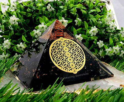 Pirámide de turmalina negra con piedras preciosas increíbles para protección energética EMF y negativa. Pirámide de cristal de turmalina negra natural (flor de la vida, 7 chakra)
