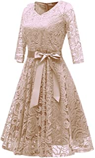 Tootu Women Vintage Princess Floral Lace Cocktail V-Neck Party Dress