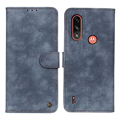 BAIDIYU Hülle für Motorola Moto E7i Power Handyhülle, Kartensteckplätze, Ständerfunktion, Luxus PU Leder Brieftasche Flip Folio Cover, Hülle für Motorola Moto E7i Power.(Blau)