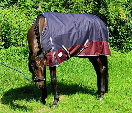 AMKA Outdoordecke 1200D 150g Füllung dunkelblau/weinrot mit Gehfalte und Kreuzgurten