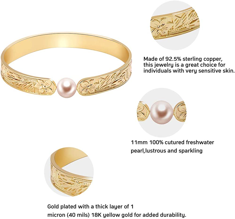 KOMI 11mm Genuine Freshwater Cultured Pearl Bracelet 18k Gold Filled Band with Retro Flowers Pattern for Women as Birthday Wedding Gifts