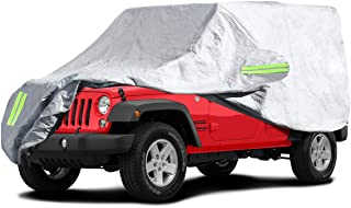 ELUTO Car Cover for Jeep Wrangler Cover 4 Door Waterproof Jeep Car Cover Waterproof All Weather Protection Outdoor Car Cover with 2 Gust Straps Fits up to 185'(185''L x 75''W x 71''H)