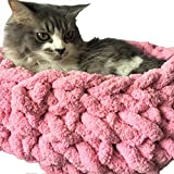 Handmade Chenille Cat Cave,Chunky Hand Knit Pet Bed,Cozy Kitten Cave,Pet Bedding,Chunky Cat Bed,Kitty Bedding Diameter 16in Kitten Cave Pet Gift
