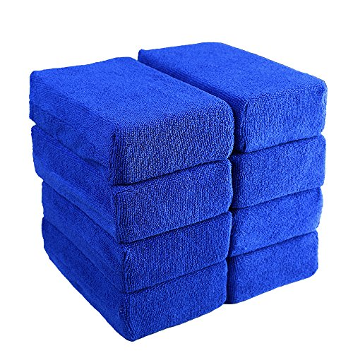 Car Wash Microfiber Sponges House Clean Sponge, Premium Grade Microfiber Applicators for Car Washing, Car Cleaning Kit, Car Exterior Care, Microfiber Applicator Pad for House & Kitchen Cleaning