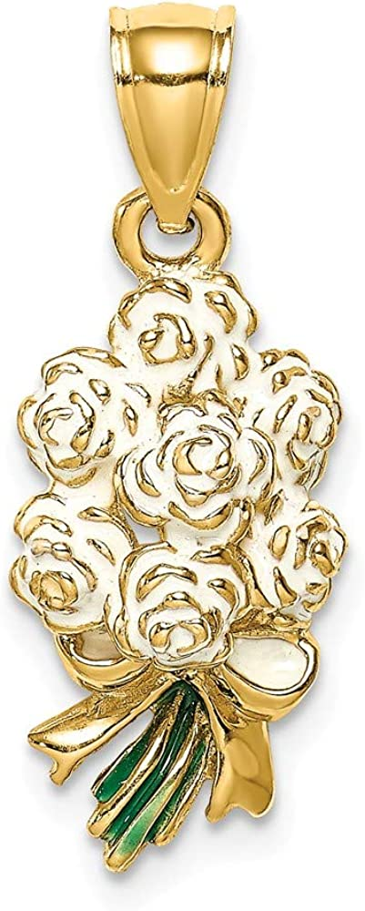 Award-winning store FB Jewels Animer and price revision 14K Yellow Gold Bouquet Roses 2D Of Pendant