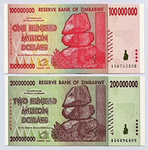 Simbabwe 100, 200Millionen Dollar, Währung 2008Banknoten Rechnungen Welt Inflation Record