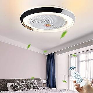 Ventilador De Techo Ajustable Con Moderna Iluminación LED 36W Velocidad Del Viento Luz Regulable Mando A Distancia Lámpara De Techo Momento Tranquilo Dormitorio Living Luz De Techo Bajo Ruido,Negro