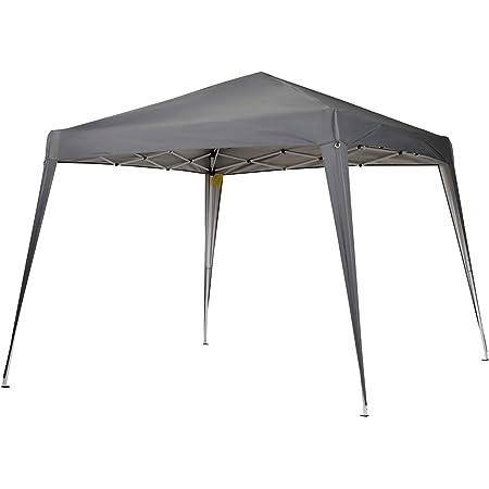 Outsunny Carpa Plegable 3x3m Cenador de Jardín Diseño Pop Up de Acero y Cubierta de Tela Oxford Gris