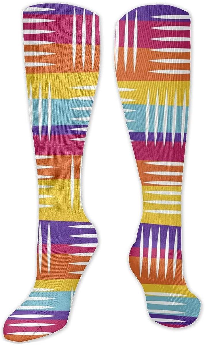 Lines Stripes Knee High Socks Leg Warmer Dresses Long Boot Stockings For Womens Cosplay Daily Wear