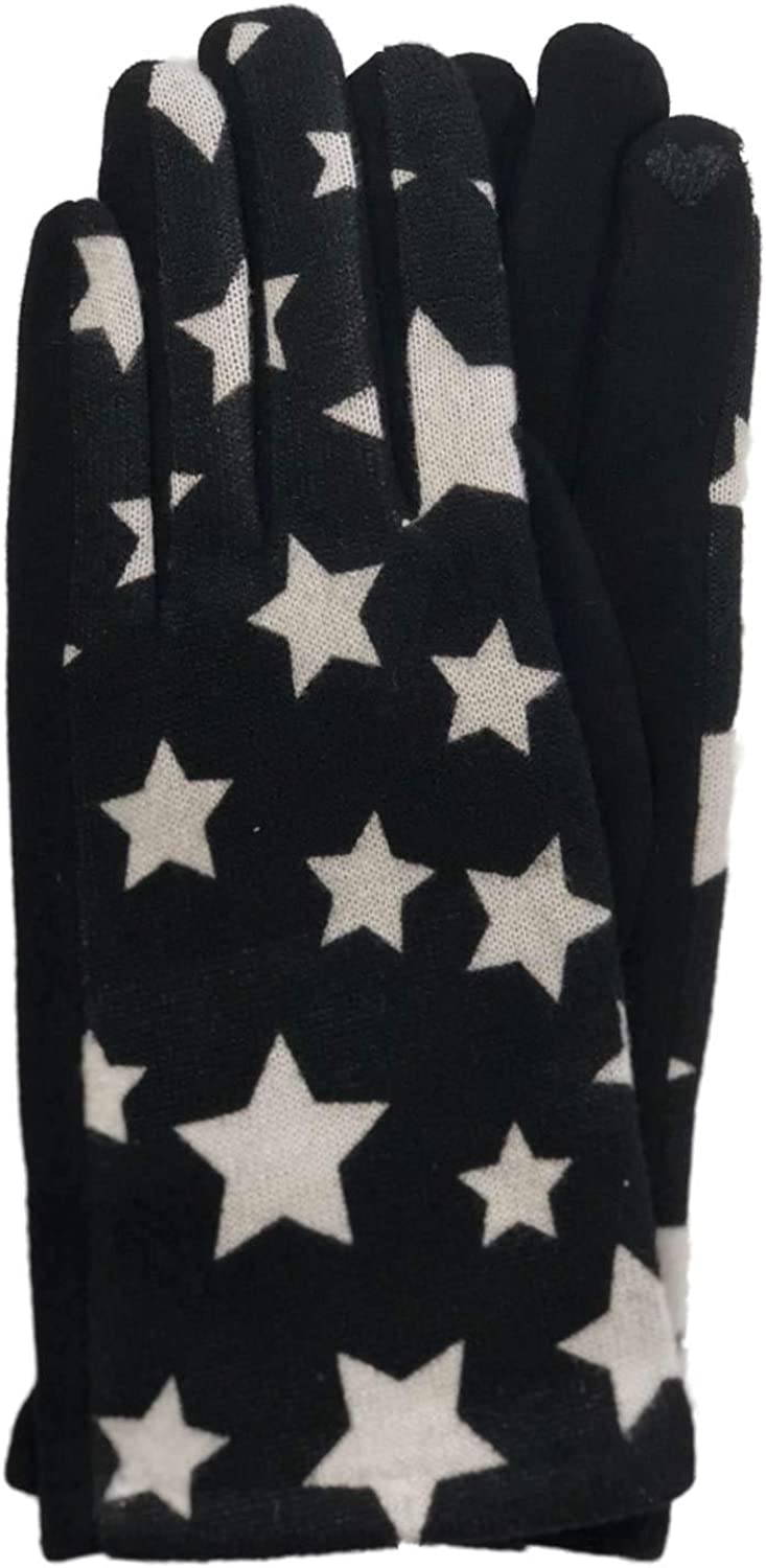 Womens Black & White Star Print Stretch Fit Texting & Tech Touchscreen Gloves