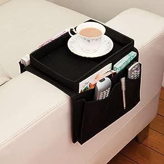 YOTHG Sofa Multilayer Armrest Organizer with Cup Holder Tray 6 Pockets TV Remote Control Organizer Storage Bag Holder for Cell Phone Magazine Drinks Snacks(56x32cm/22inch x 12inch,Black)