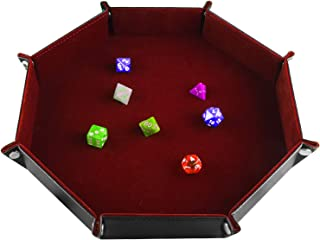 SIQUK Double Sided Dice Tray Folding Octagon PU Leather and Burgundy Velvet Dice Holder