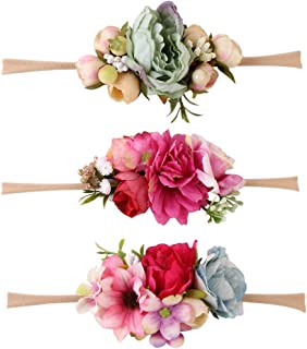 simhoa Headband Baby Toddler Newborn Floral Fabric Top Knot Hair Accessory - Pattern A, as described