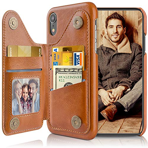LOHASIC for iPhone XR Wallet Case Men, 5 Card Holder Phone Cover Credit Slot PU Leather Kickstand Magnetic Folio Portfolio Women, Classic Vintage Fancy Business Travel Photo Pocket 10XR 6.1 Inch Brown